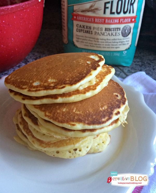 Fluffy Cake Flour Pancakes | A Pancake recipe using cake flour makes the fluffiest and tastiest pancakes ever! Bob's Red Mill Cake Flour is my favorite. Grab your recipe for cake flour pancakes from TodaysCreativeLife.com