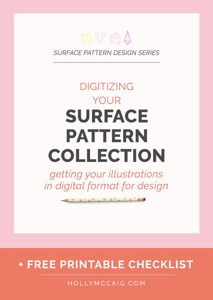 Getting Your Illustrations Into a Digital Format for Surface Pattern Design | Learn My Method and get a free printable checklist to help you create your own surface pattern collection.