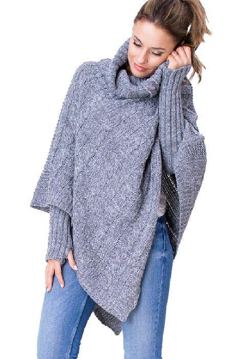 Wozwoz Women S Polo Neck Knit Poncho Cape Arm Warmer