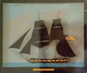 A reverse painting on glass of the United States brig Hornett, is signed by Isiah Whyte of Boston, and dated 1812. Two other known paintings by Whyte are known; a reverse glass painting of the Essex in possession of the Peabody Essex Museum, and an oil painting of the American sloop Frolic, once in the collection of Franklin D. Roosevelt, then secretary of the navy, and now in possession of the F.D.R Library, Hyde Park, New York.