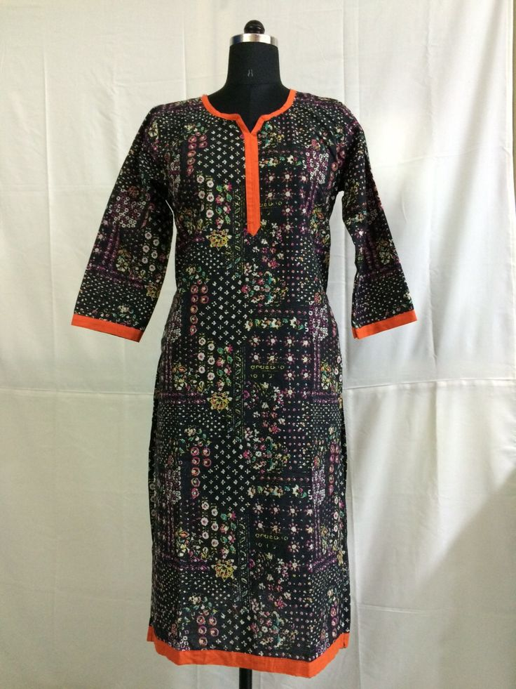 Orange piping Black color half sleeves cotton kurti