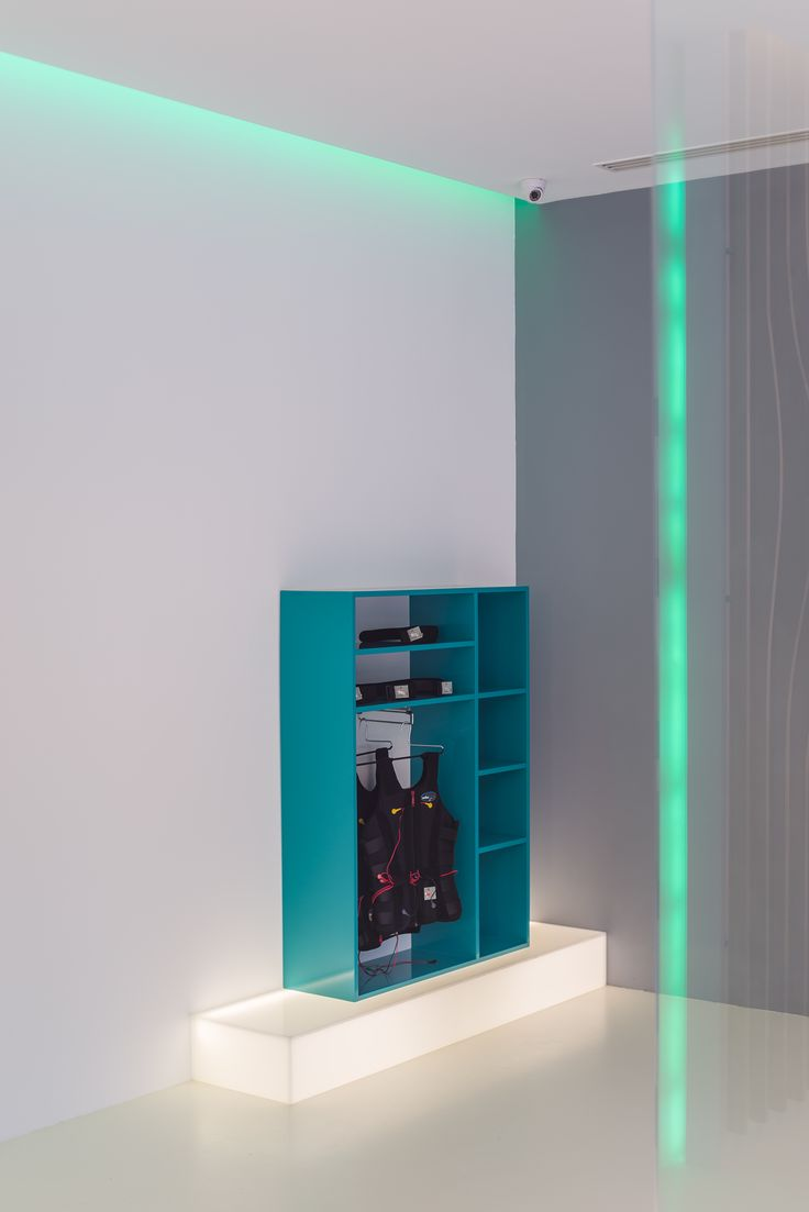 stander from glossy blue MDF on a plexyglass illuminated base orders/price offers at: office@liniafurniture.ro