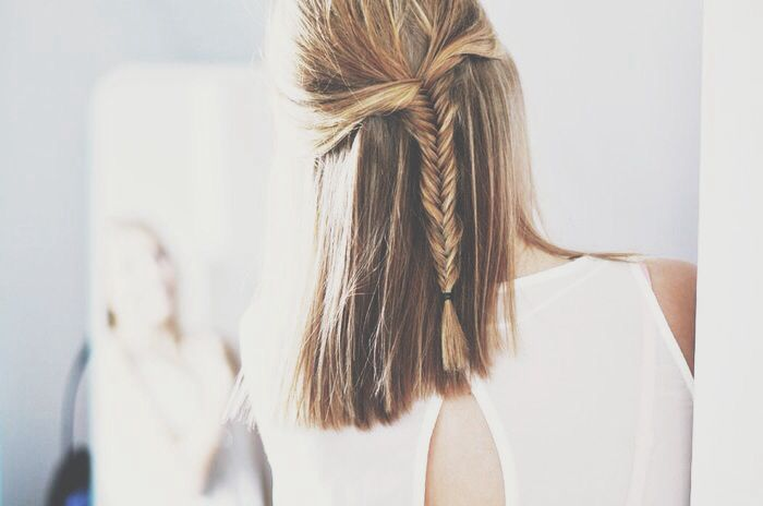blonde brunette half up half down with braid hair style hairstyle