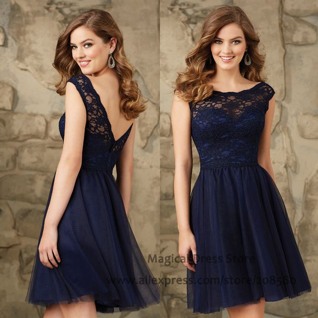 Modest Short Navy Blue Bridesmaid Dresses Lace Abiti Damigella Cap Sleeve Wedding Guest Dress 2016 Vestido De Festa Curto B2469
