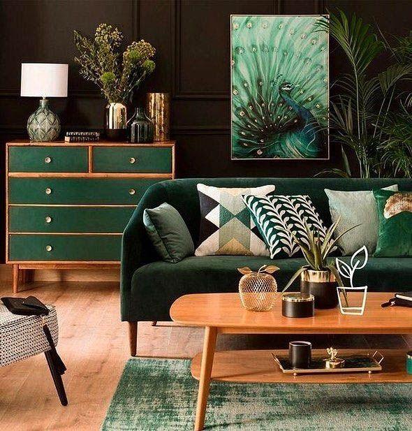 Tasteful Hunter Green Living Room Walls To Refresh Your Home Living Room Decor Modern Mid Century Modern Living Room Decor Living Room Scandinavian
