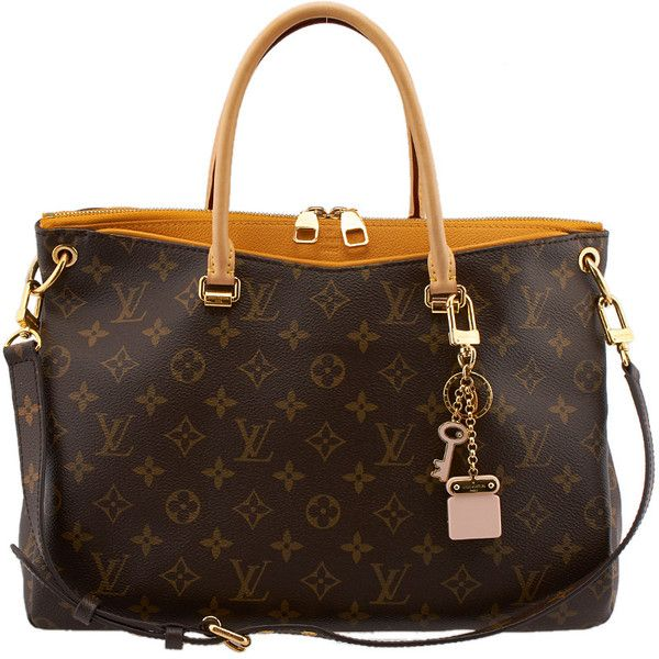Pre-Owned Louis Vuitton Pallas Monogram Coated Canvas & Leather Tote ($1,750) ❤ liked on Polyvore featuring bags, handbags, tote bags and brown
