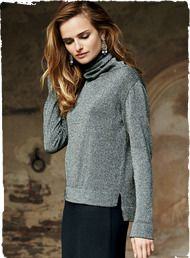 Downtown chic with jeans or uptown glam with skirts, our fine gauge Silver pullover is knit of plaited pima (63%) for lush softness and shimmery metallic poly threads (37%) for sparkle. Eased and boxy, with a slouchy cowl neck, banded cuffs, and drop-tail, side-slit hem.