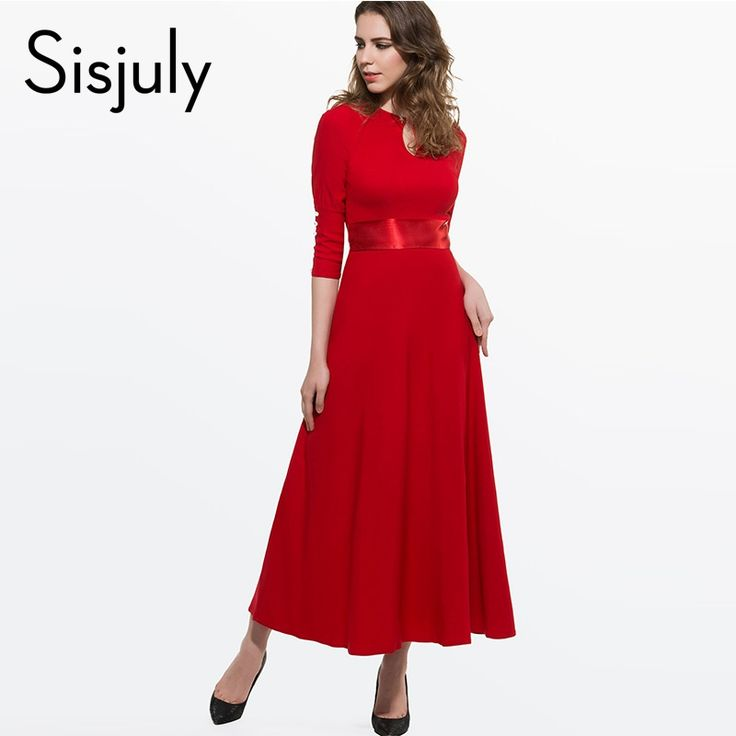 Sisjuly Elegant  Women Dress Round Neck Plain 3/4 Sleeve Buttons Red Blue New Long Party Dresses