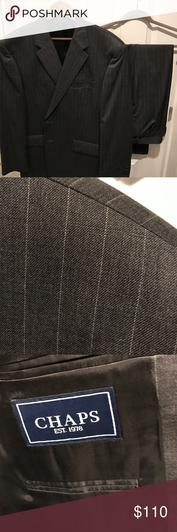 Chaps grey pinstripe suit separates; Jacket/pants Grey pinstripe Chaps suit separates. Jacket size 46R, pants 42x30. Single vented jacket, pleated and cuffed pants. Good condition. Chaps Suits & Blazers Suits