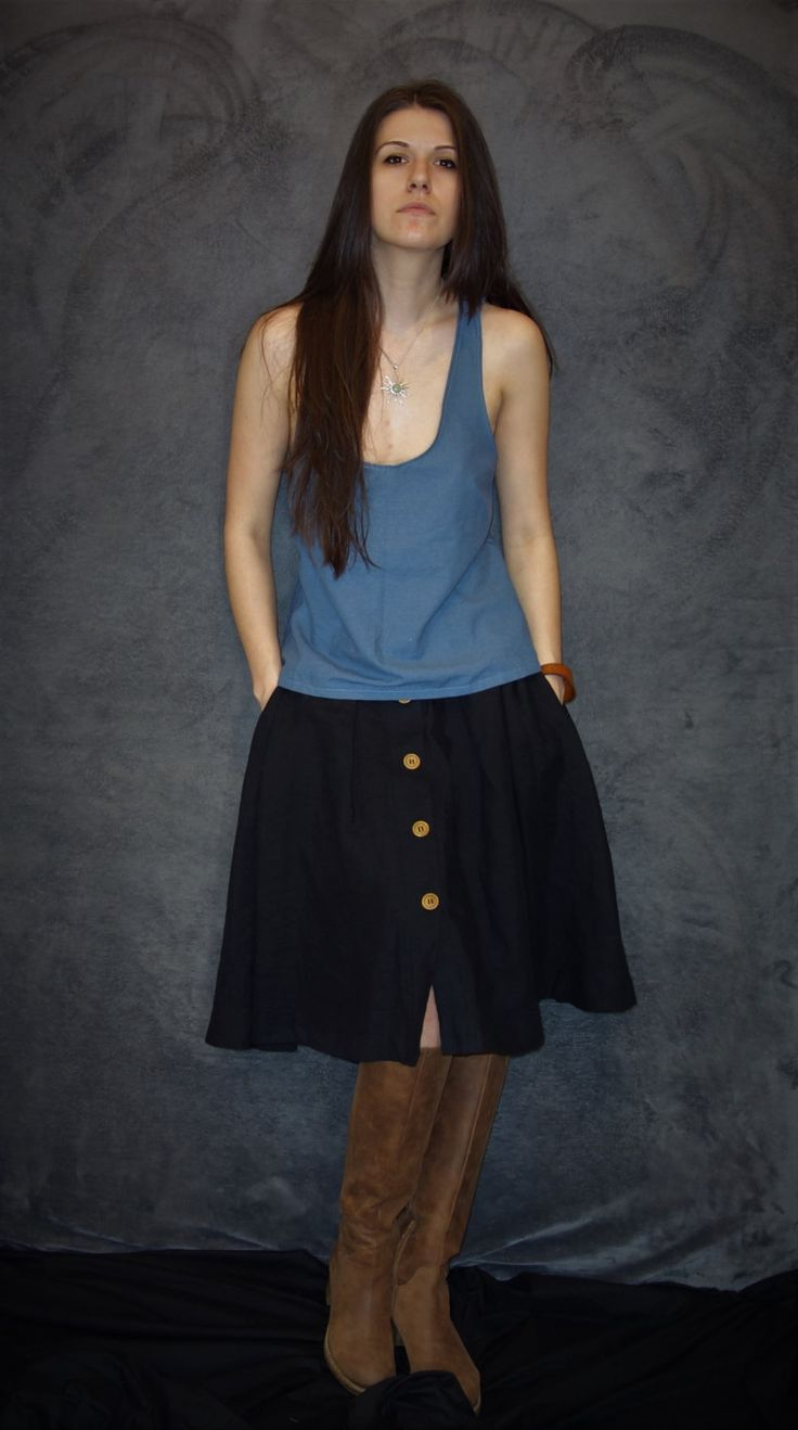 Blue Linen Tank Top, Handmade Blouse, Natural Fabric, Woman Fashion, Handmade Tank Top, Sexy Tank, Casual Clothing, Sustainable Fashion by LinenTheOldWays on Etsy
