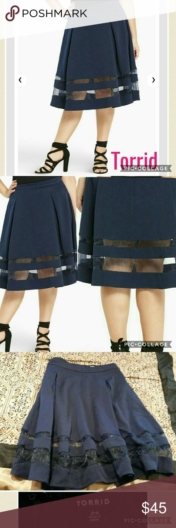 Brand New Torrid Navy Mesh Swing Skirt Brand new without price tag Bought wrong size online & wasn't able to return it My loss is your gain! Leave an offer If intrested Size 24, true to size Fitted with a zipper in back High quality material  Skirt is a little wrinkled at the mesh part in picture but this is how I recived it from the warehouse, im sure a quick iron will have that straightened out! torrid Skirts Midi