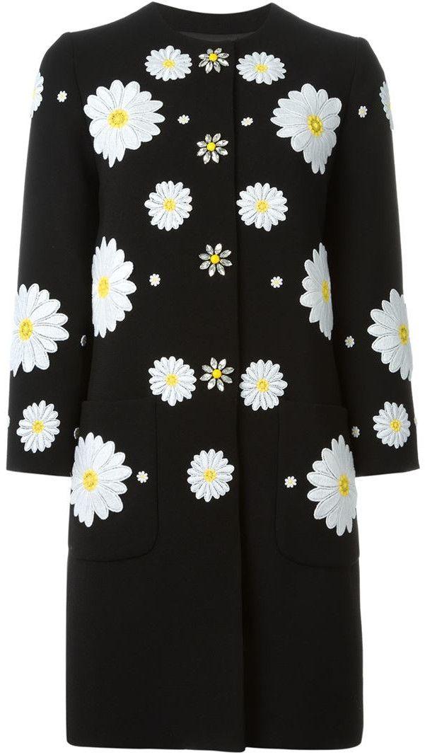 Daisy-Appliques Embellished Woolen Coat in Black