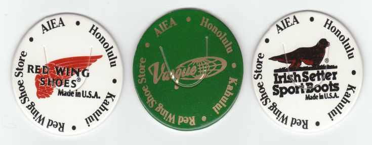 "RED WING SHOE STORE MILK CAPS (Non-dated, circa 1992-93): Die-cut, Lot of 3 different, promos from the Honolulu, Aiea and Kahului store locations, styles include the ""Red Wing Shoes"" logo, ""Irish Setter Sport Boots"" logo and the ""Vasque"" logo. ""Printed in Taiwan"" in micro-print on the back. All for $5"