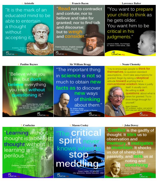 Quotes about critical thinking   Moynihan to Zinn   ProCon org     Pinterest In my opinion  as someone who has been teaching physiology for over     years  physiology is not a discipline that can be memorized