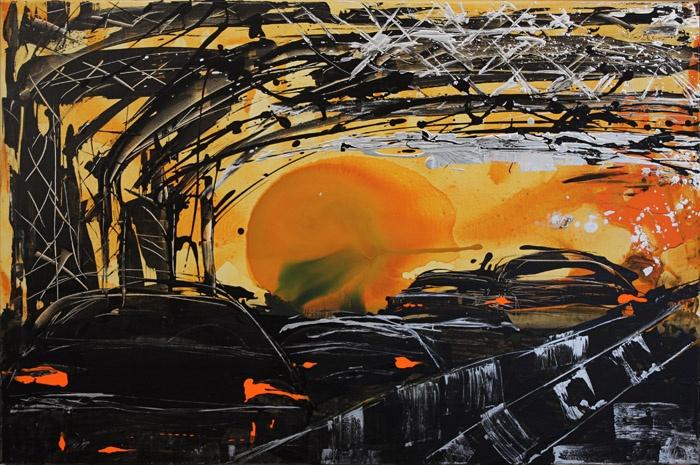 """Mina Papatheodorou Valyraki: """"Double bridge in yellow"""", 2011"""