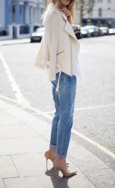 Boyfriend denim, nude pumps and cream biker jacket.