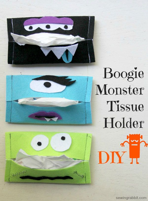 """Boogie Monster"" tissue holders. Super cute for Halloween! Makes a great kid craft too."