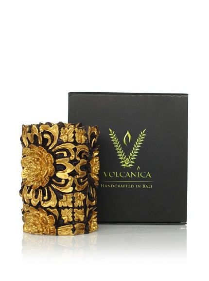 Volcanica Dendtritic Small Pillar,   An intricate floral relief pattern accented with metallic gold adorns this handcrafted beeswax and palm wax candle; 67-hour burn time  www.volcanicacandles.com