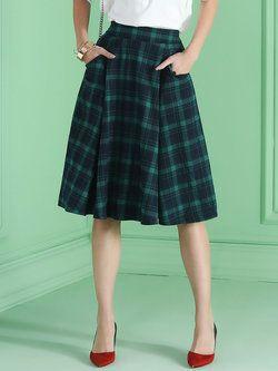 Green Scottish Checkered/Plaid Pockets A-line Elegant Midi Skirt