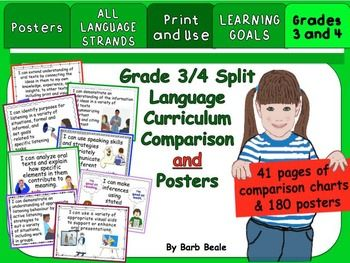 Grades 3 and 4 Split Language Curriculum Comparison Charts and Learning Goals Posters for the Ontario Curriculum. Print once and use for years to come!The Ontario Language Curriculum for Grades 3 and 4 are set up on charts for easy reference to see the similarities and differences.