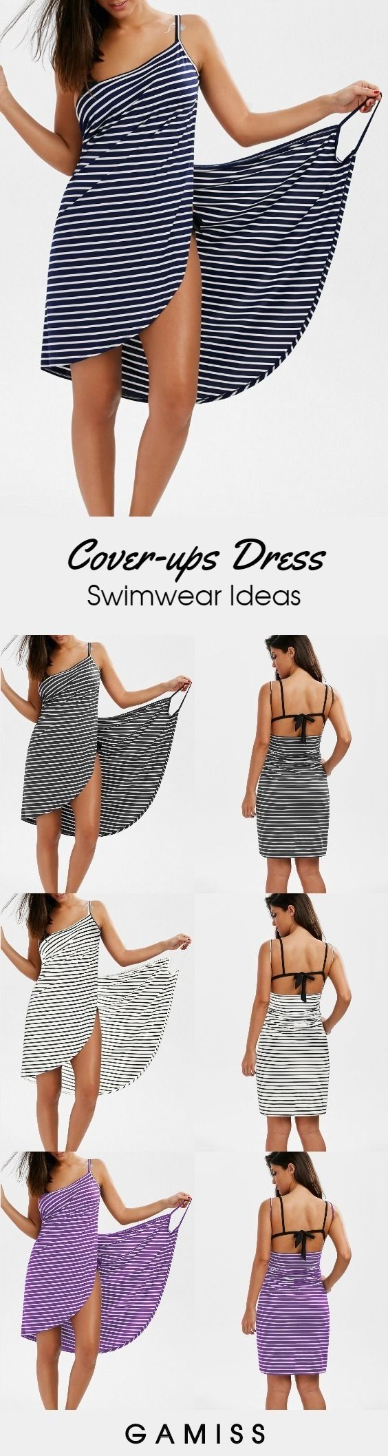 Open Back Striped Cover-ups Dress #Gamiss