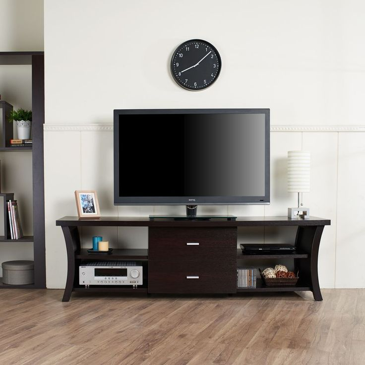 modern tv stand with storage cabinet drawers open shelving center
