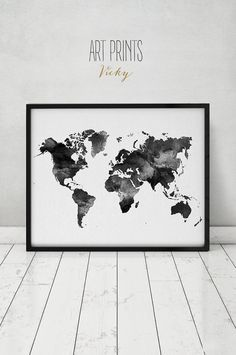 Welt Aquarellbilder Grafik, Travel Map, große Karte, minimalistischen Weltkarte, schwarz / weiss, Aquarell Poster, Wohnkultur, ArtPrintsVicky.