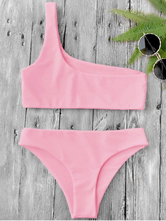 AD : One Shoulder Bikini Set - PINK Contemporary asymmetric bathing suit featuring single shoulder pullover bikini top and hipster swim bottoms, non-padded. Swimwear Type: Bikini Gender: For Women Material: Nylon,Polyester,Spandex Bra Style: Bralette Support Type: Wire Free Collar-line: One Shoulder Pattern Type: Solid Waist: Low Waisted Elasticity: Elastic Weight: 0.2000kg Package: 1 x Top 1 x Bottoms