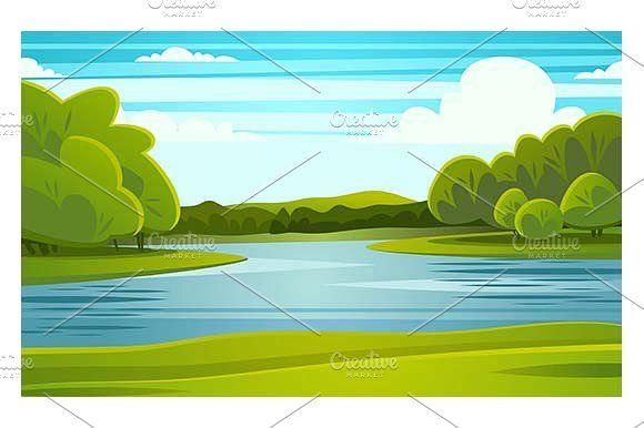 landscape with river  by Kurokstas on @creativemarket
