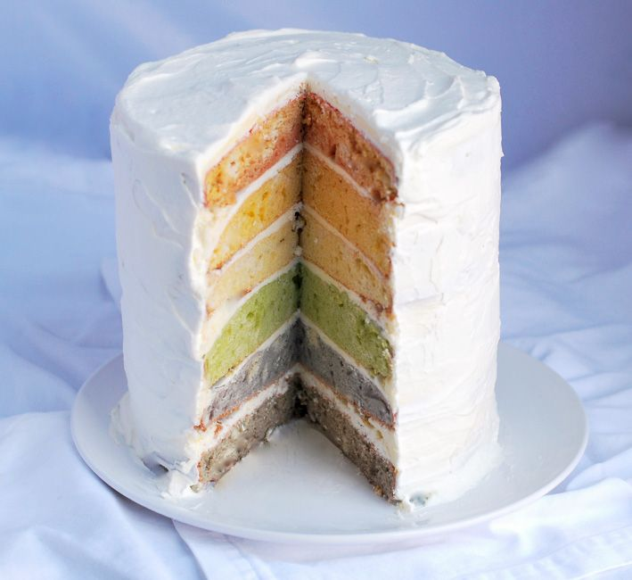 Rainbow layer cake!: Desserts Recipes, Natural Rainbows, Natural Colors, Natural Dyes Food, Rainbows Layered Cakes, Cakes Recipes, Rainbows Cakes, Natural Food, Dyes Food Colors