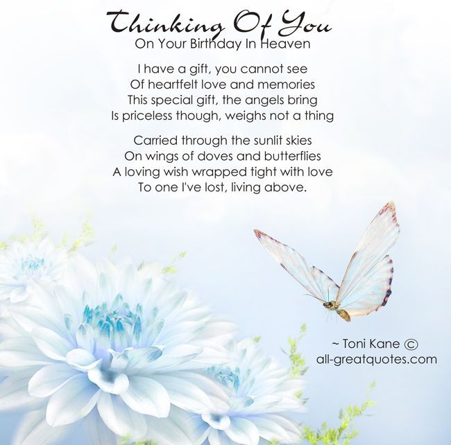 birthday wish for Mom in heaven   Birthdays In Heaven - Thinking Of You On Your Birthday In Heaven