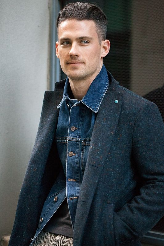 Nice hairstyle.  It works well with the denim jacket, wool coat and tweed pants.