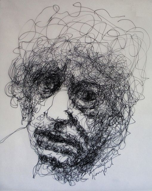 Brett Whiteley contemplates old age    pen on paper, 27x23cm    http://tachisme.blogspot.com/2012/01/brett-whiteley-contemplates-old-age.html