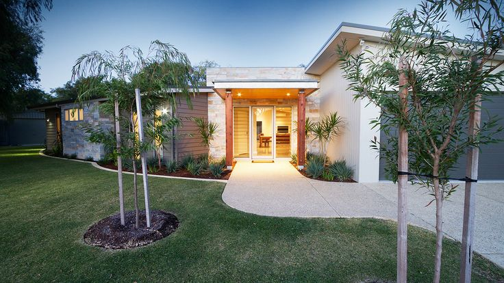 James Hardie Scyon Linea and Axon Cladding, Stone Feature Wall, contemporary home, timber pillars at front entrance