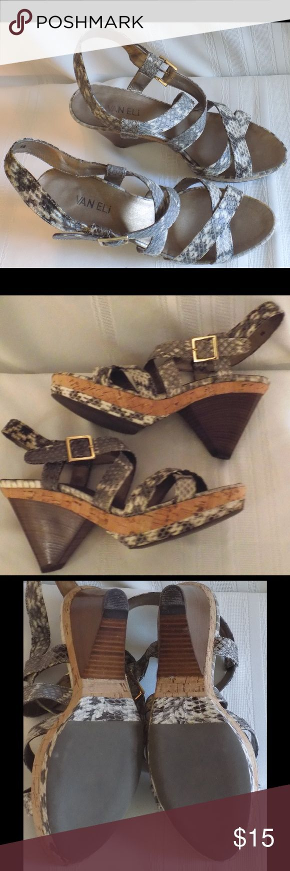 "Vaneli Snake Design Slingback Sandals 9 Med Strappy slingback sandals with peep toe and 3.5"" heel. Excellent condition. Vaneli Shoes Sandals"