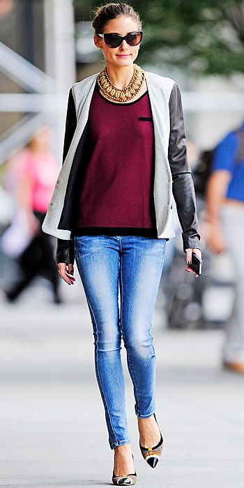 Olivia Palermo stepped out in a casual ensemble in a scoop neck Gerard Darel sweater that she teamed with a leather topper, statement necklace, skinny jeans and cap-toe pumps