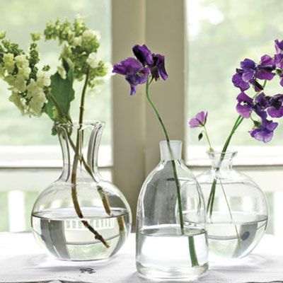 Single stems of oakleaf hydrangea and sweet peas in glass decanters create a simple yet sophisticated arrangement.  8 of 23  Next  Comments  1  Share