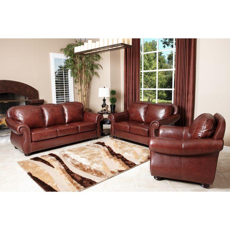 abbyson living houston semi aniline leather sofa loveseat. Black Bedroom Furniture Sets. Home Design Ideas