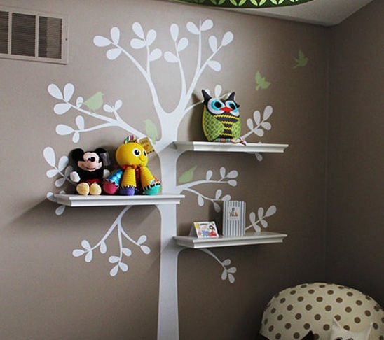 "Wall mural with shelf ""branches"" So cute for a little girls room!!"