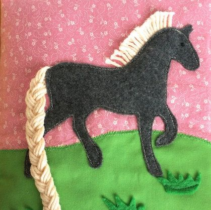 Horse, Unicorn Quiet Book Page PDF sewing Pattern- Braid activity page for toddler girl. Template comes with detailed tutorial how to make horse quiet book page.