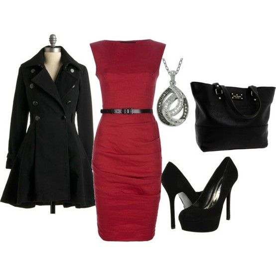 red sheath dress with black coat and accessories. Sheath dresses are my favorite  | followpics.co