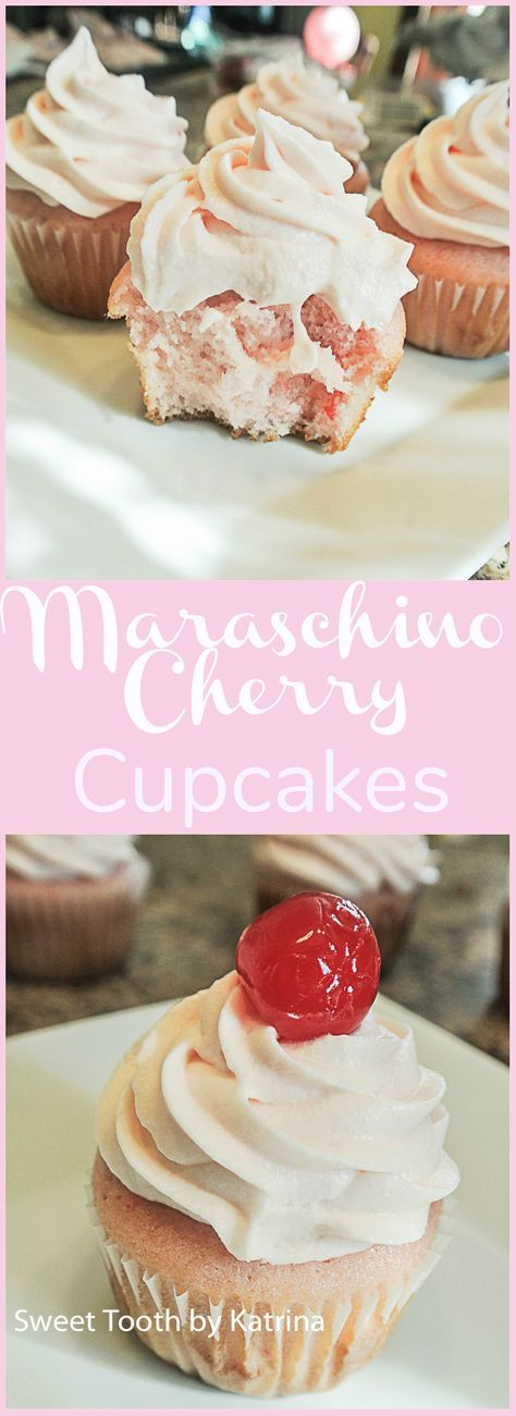 Maraschino Cherry Cupcakes with a delicious Cream Cheese Frosting