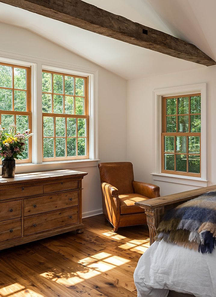 Window trim and baseboard style ( but stained, not white), floors are lovely too. I just love this room!