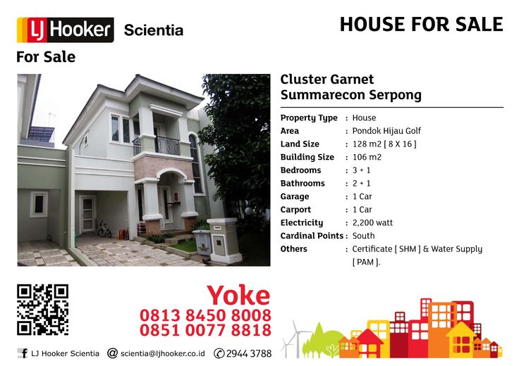 HOUSE FOR SALE: Cluster Garnet @ Pondok Hijau Golf, Summarecon Serpong