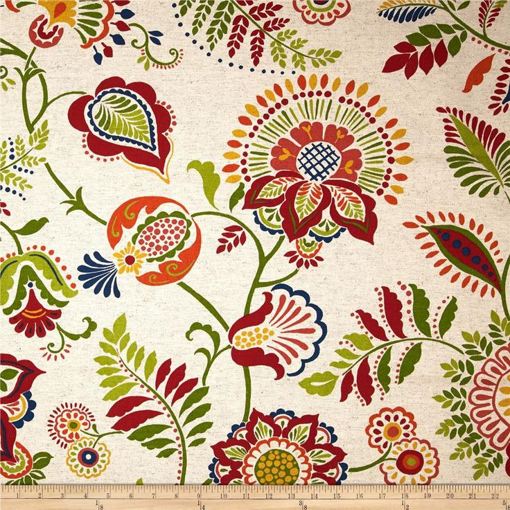 Screen printed on cotton, this versatile double slub (has vertical and horizontal slubs) duck fabric is medium/heavyweight. Perfect for window treatments (draperies, valances, curtains and swags), accent pillows, duvet covers, upholstery and other home decor accents. Colors include