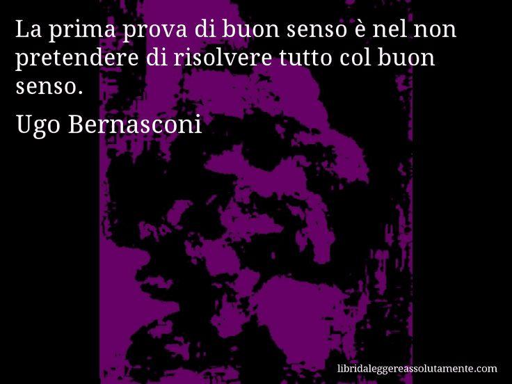 Aforisma di Ugo Bernasconi , La prima prova di buon senso è nel non pretendere di risolvere tutto col buon senso.
