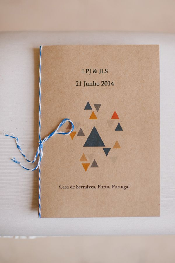 geometric inspired wedding program, photo by Piteira Photography http://ruffledblog.com/a-destination-wedding-in-portugal #programs #weddingideas #papergoods