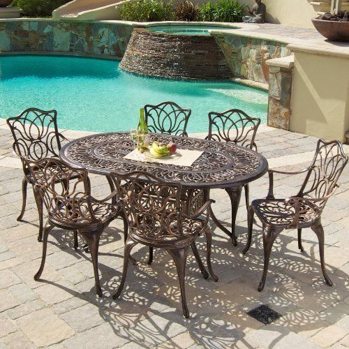 Outdoor Dinning Set 7Pcs Cast Aluminum Vintage Retro Antique Table Chairs Chair #Kbrand