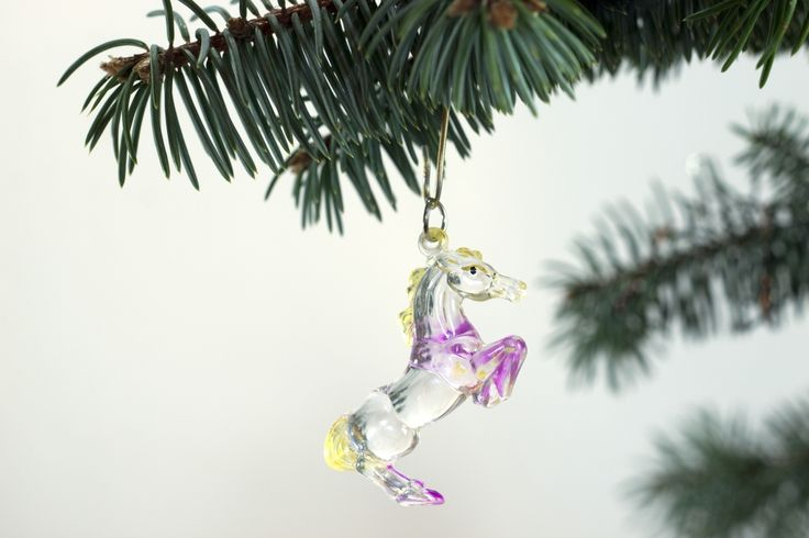 Christmas tree  decoration . Horse . On  White  background