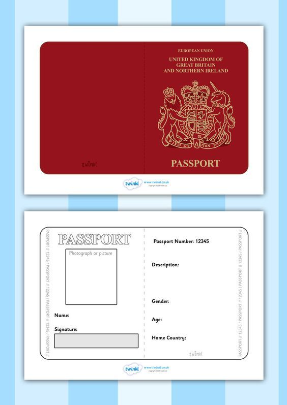 Twinkl Resources >> British Passport Template >> Printable resources for Primary, EYFS, KS1 and SEN.  Thousands of classroom displays and teaching aids! Topics, Travel, Role Play, Passport, Templates: